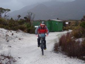 With a kilometre between observation posts and feed tables bike-riding is the ideal way for volunteers to get around.