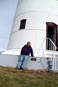 Wildcares Shane Pinner & plaque Tasman Island  Lighthouse April 2015