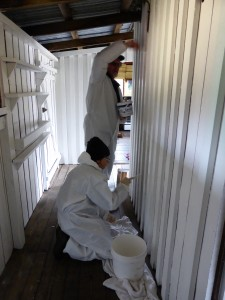 WCMV Freshening up the paint work in historic Mt Kate hut