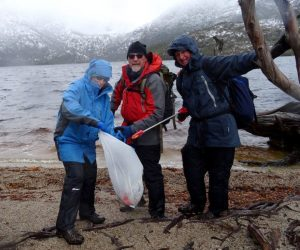 Julie, Michael & Rodney collecting rubbish at Dove Lake