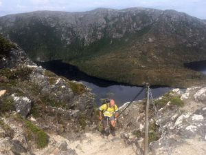 Malcolm climbing Hansons Peak enroute to the Rangers Hut for a spot of painting (KT)