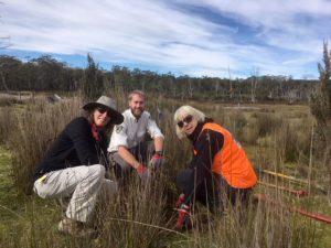 Mieke, Ranger Rhys & Christine planting trees