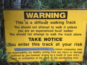St Valentine's Peak car park warning sign